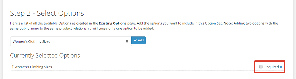 Select the required checkbox