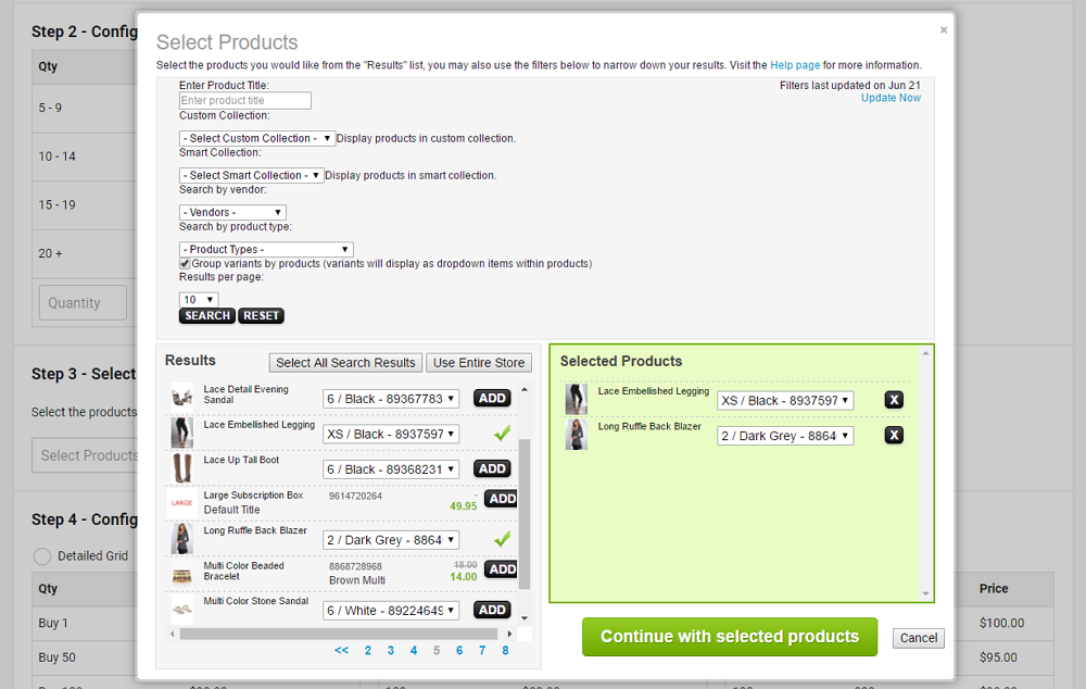 Step 3 - Select Products