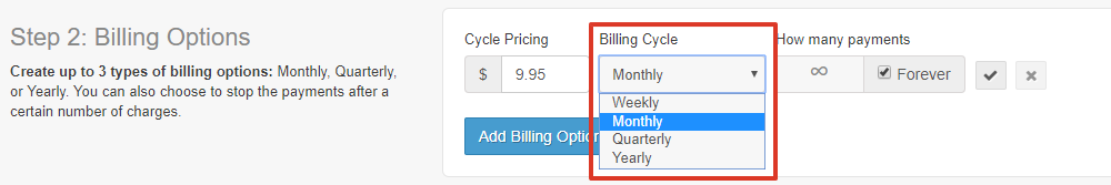 To the right of the cycle pricing is a dropdown for the billing cycle (weekly, monthly, quarterly, or yearly)