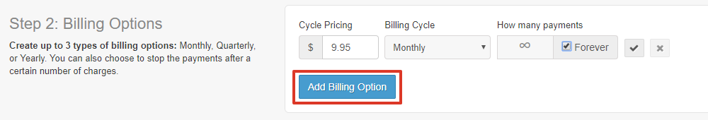 Underneath the billing details, select Add Billing Option to add this as a payment option