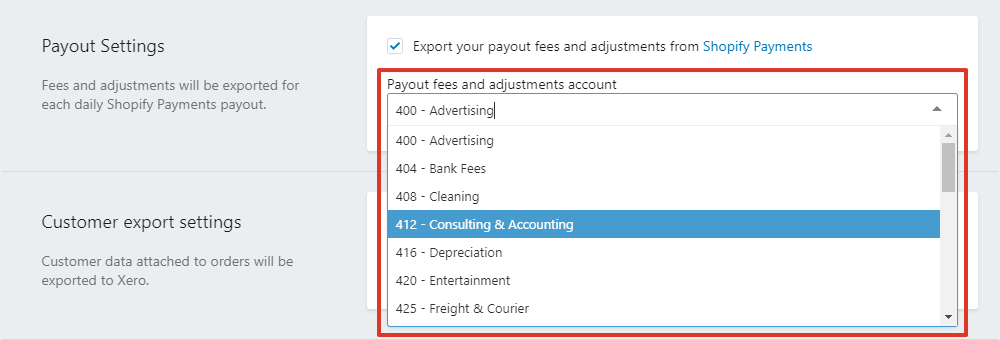 Payout fees and adjustments account