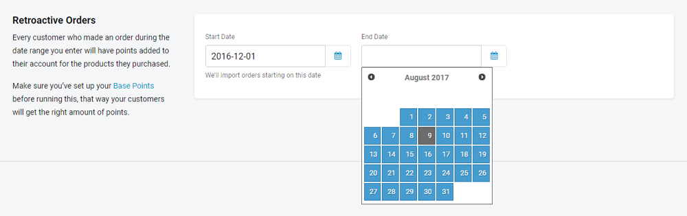 select an end date