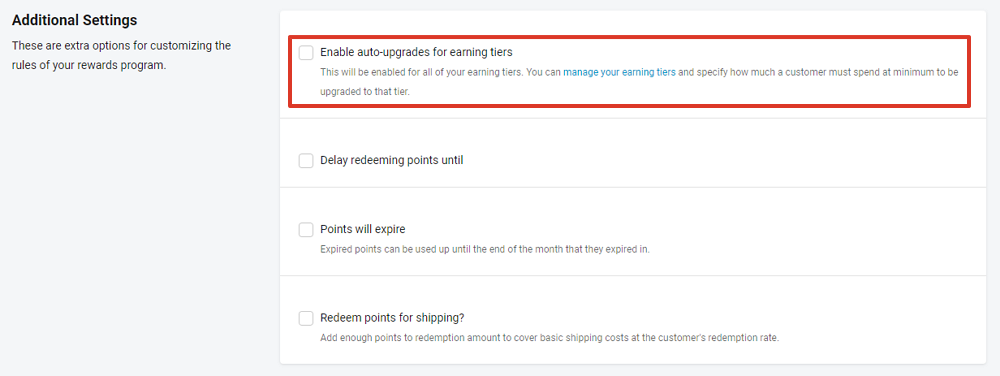 select enable auto-upgrades for earning tiers