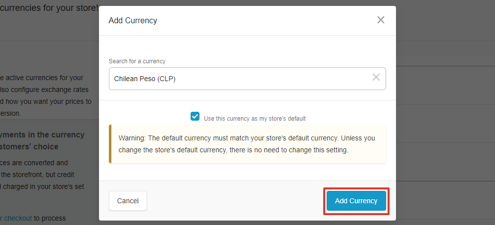 select add currency