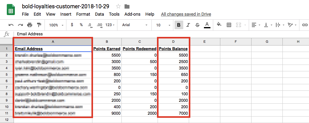 Picture shows the .CSV file open in Excel, highlighting which columns to delete (A and D)
