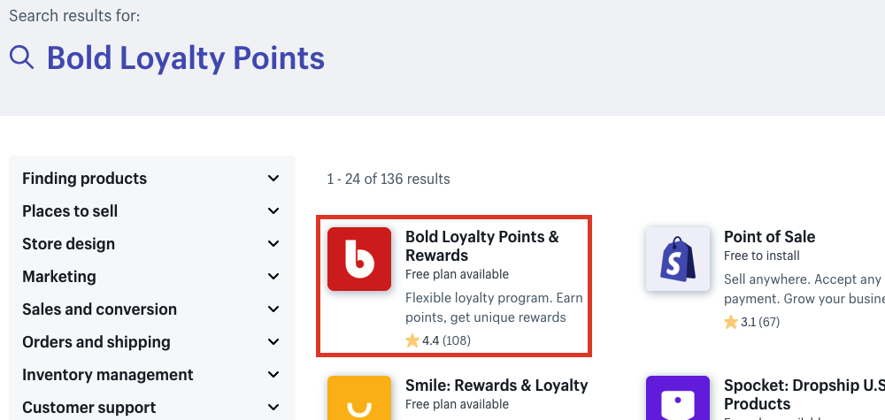 Select Bold Loyalty Points and Rewards