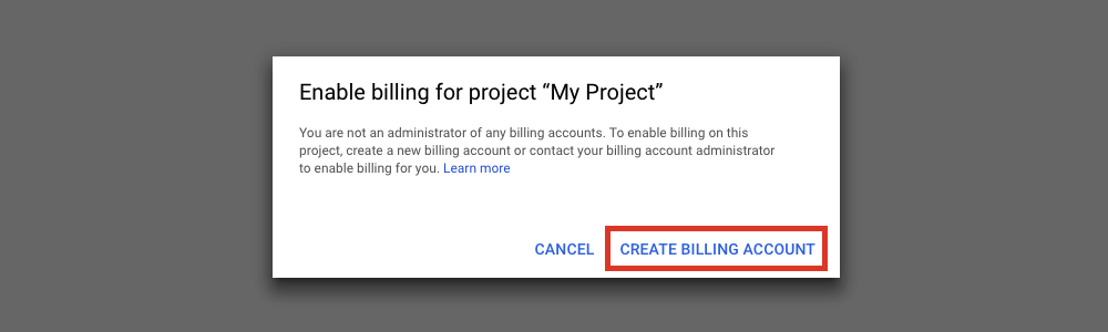 Select Create Billing Account