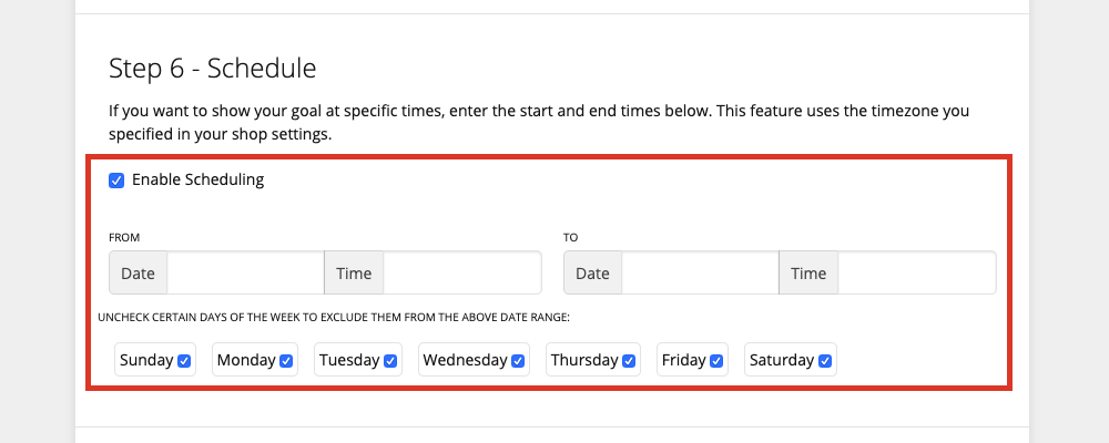 Selecting the Enable Scheduling checkbox will open four tabs underneath; the 'from' date, time; and the 'to' date, and time where you can begin and end your banner. Underneath that is seven horizontal checkboxes from Sunday to Saturday which you can check off