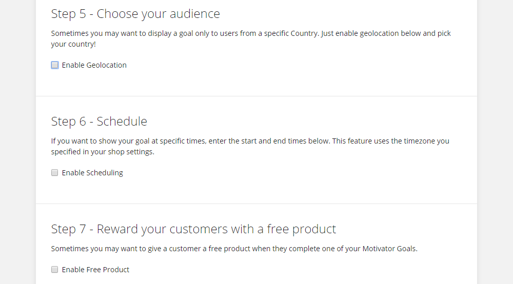 Picture shows the three additional options that come with Motivator Premium: geolocation for country-specific goals, scheduling for timed banners, and free product rewards