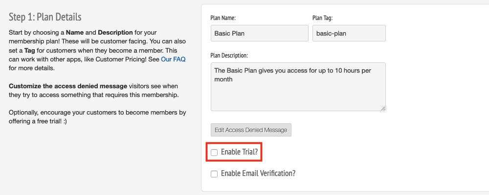 Below that, select the Enable Trial checkbox