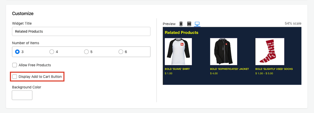 Select Display Add to Cart Button