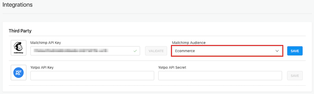 Select Mailchimp Audience
