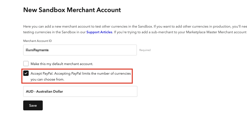 Select Accept PayPal
