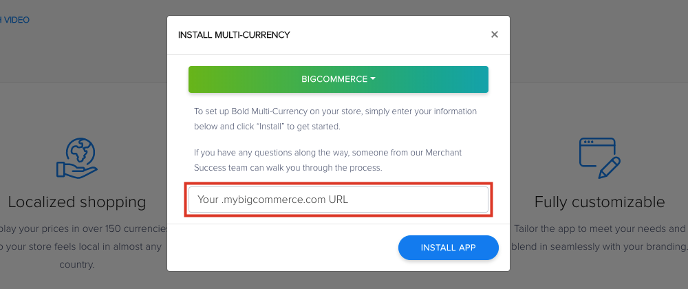 Enter Your BigCommerce URL