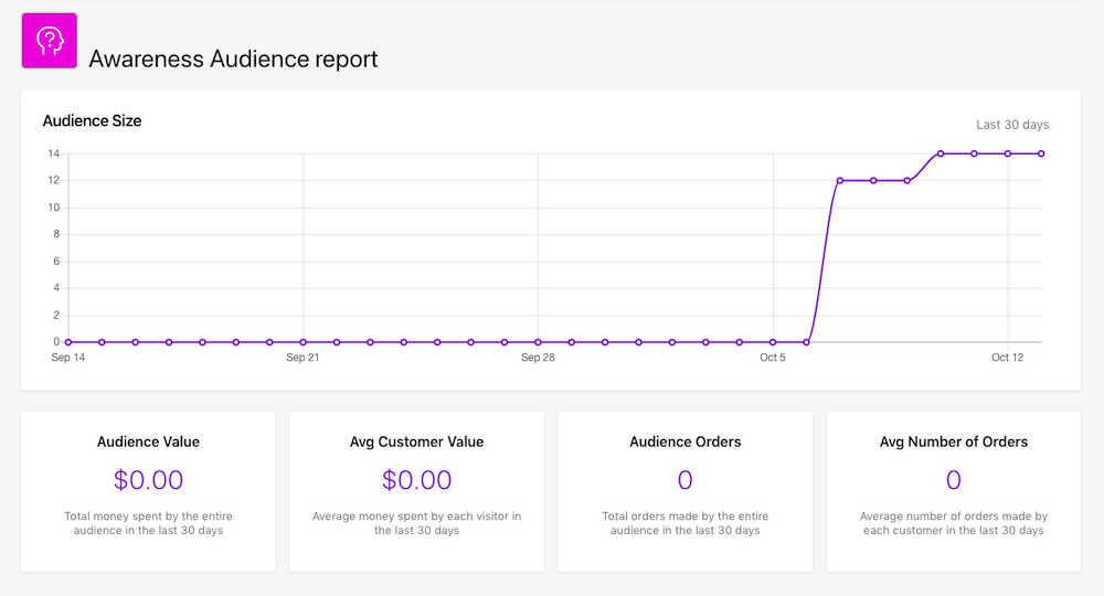 Picture shows the Awareness Audience report in the form of a graph