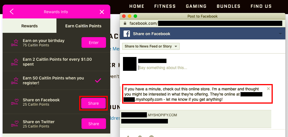 A screenshot depicting a store's widget, with a customer's Facebook account open with the social sharing message