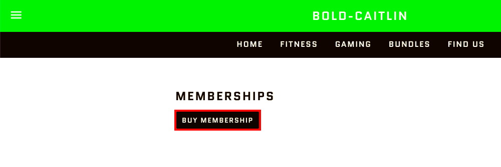 Picture shows a page on a store that says Memberships, with a black button underneath that says Buy Membership