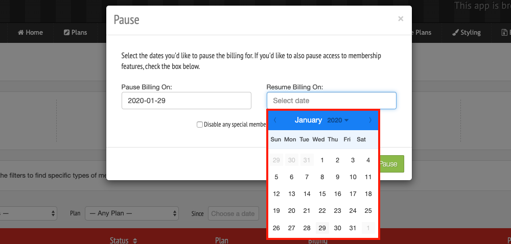 On the right-hand side of the pop-up menu, you're able to select Resume Billing Date On and open up a calendar to choose the date that the customer's billing will resume