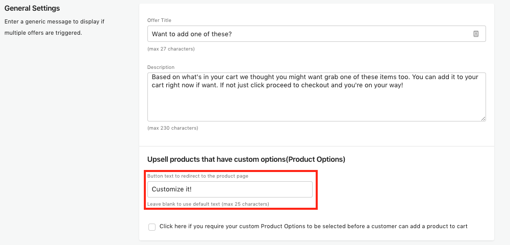 Button text to redirect to the product page screenshot