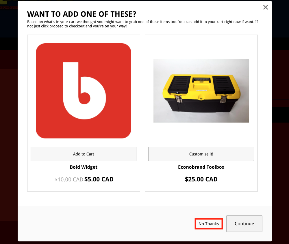 No Thanks Button Example in Upsell Modal