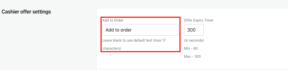 Cashier offer settings - Add to Order Screenshot in Bold Upsell
