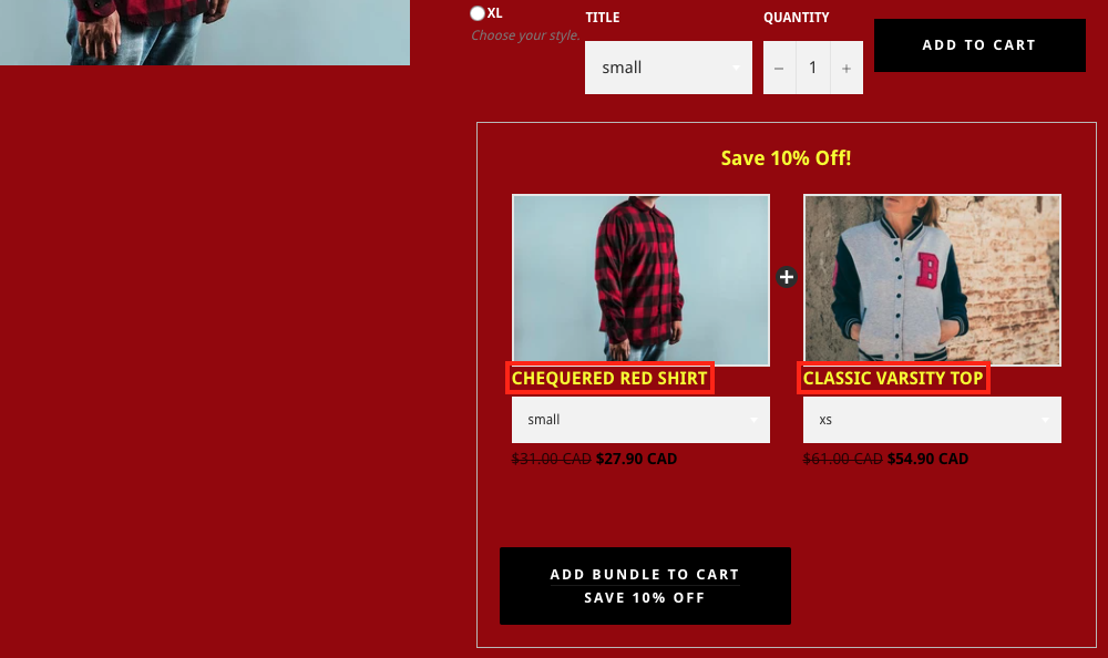 Product Title Example in Bundle Widget