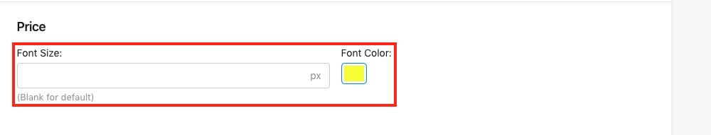 Price Font Size and Font Color Setting