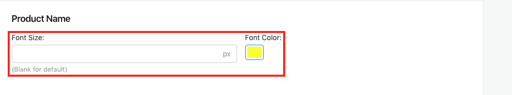 Product Name Font Size and Font Color Setting