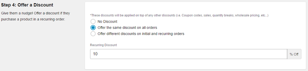 Bold Subscriptions Discount option