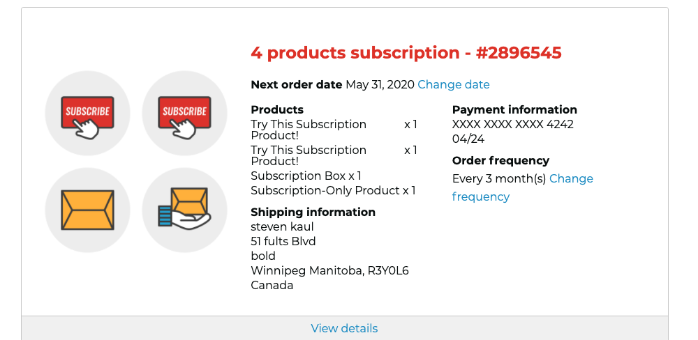 Manage Subscriptions Page Example