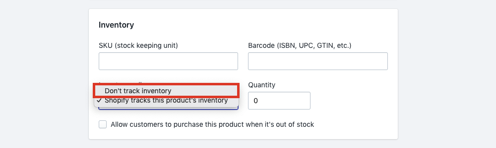 Select Don't Track Inventory