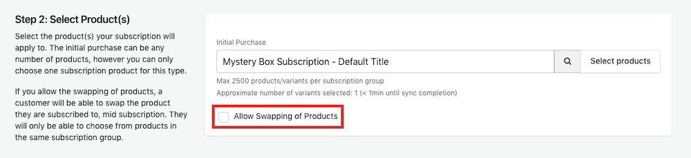 Select Allow Swapping of Products