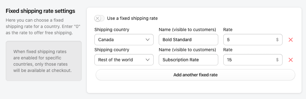 Fixed Shipping Rates