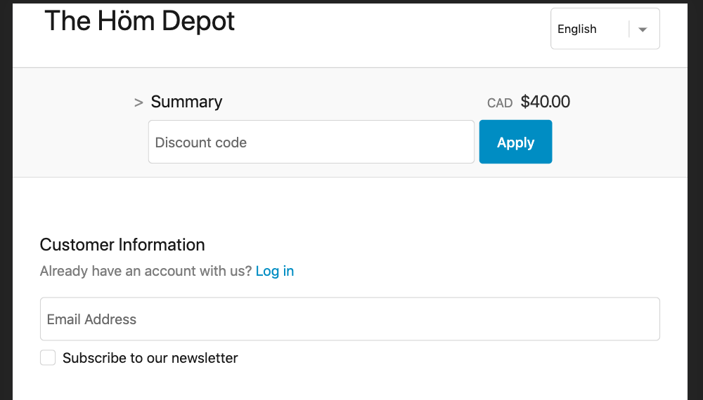 Discount Code Box Example