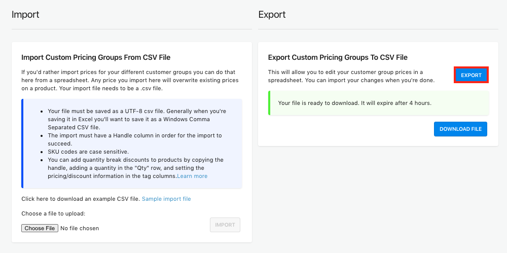 Import/Export Page