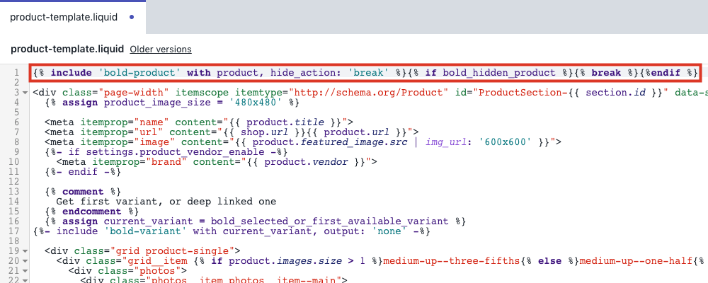Remove code top of product.liquid