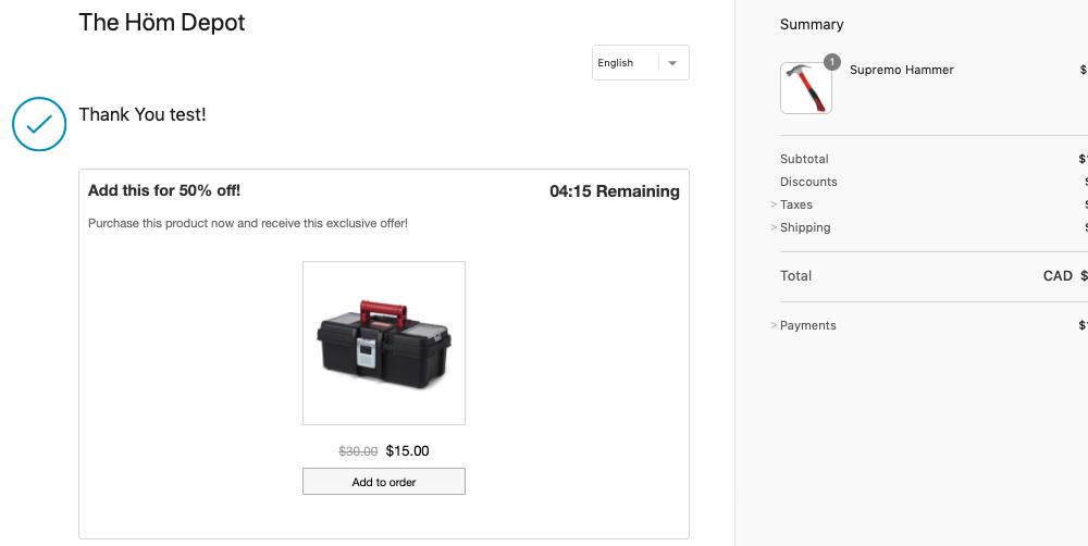 Upsell After Checkout Example