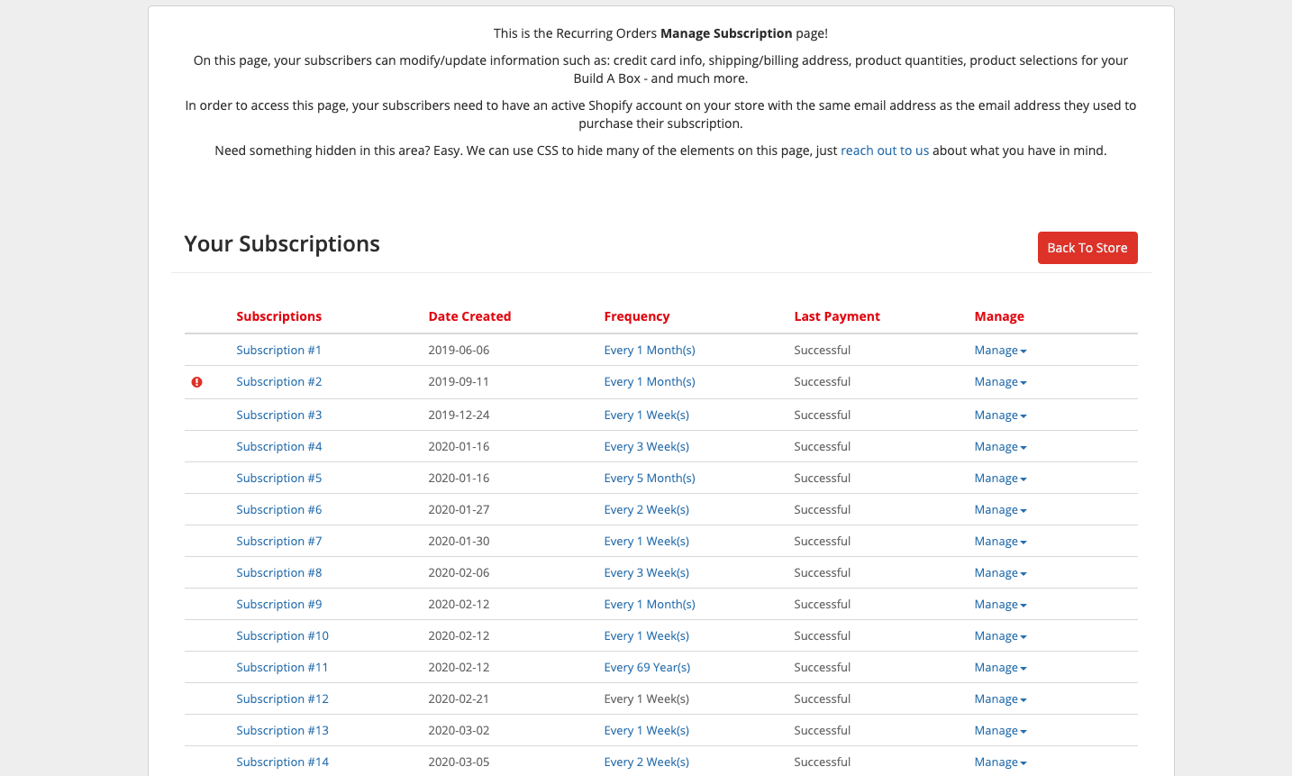 Manage Subscription Page V1