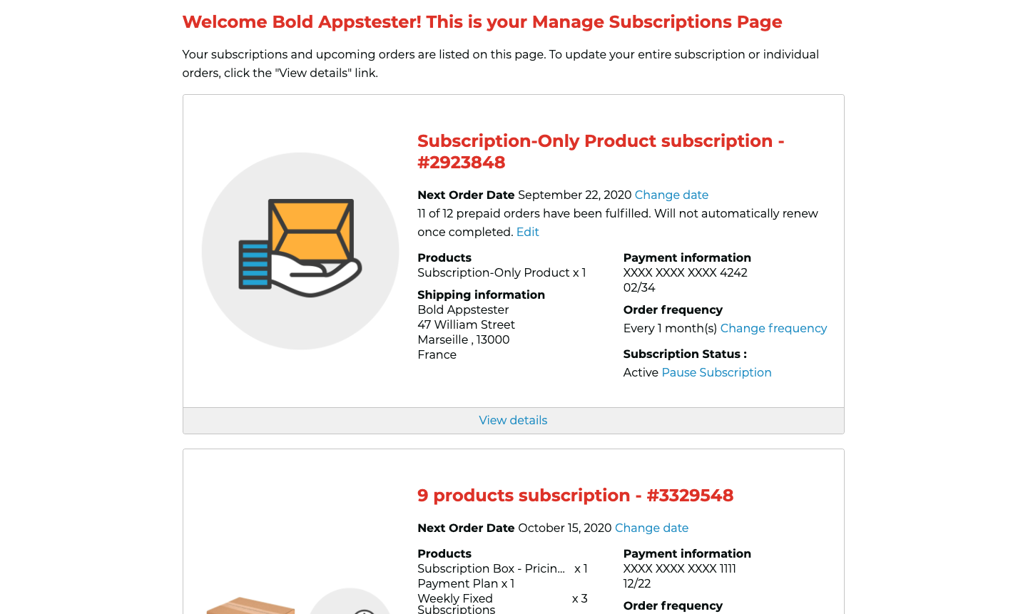 Manage Subscription Page V2