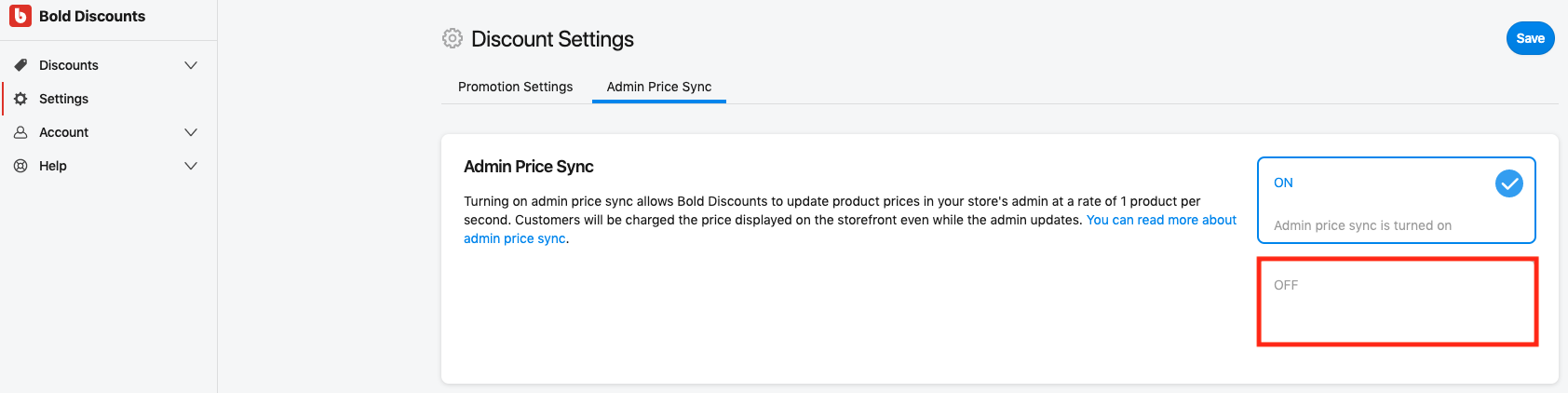 Admin Price Sync - Disable